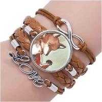 wholesale jewelr hot glass dome fox collar creature watercolor glass woodland art bracelet for statement bracelets