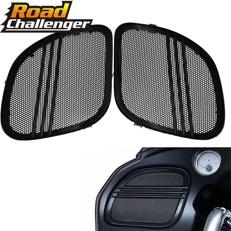 For Harley Touring Road Glide FLTRX 2015-2018 Motorcycle Black Tri-Line Speaker Grills Cover Trim Mesh