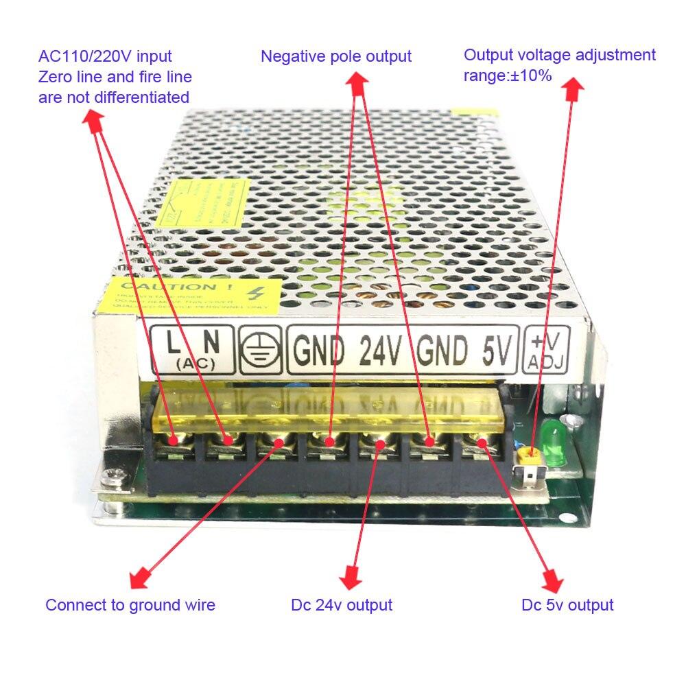 150 Watt Dual Channel Ausgang 24 V und 5 V Hohe Effizienz Transformator Stromversorgung für Dc Motor