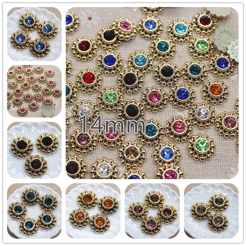 50 Uds. Botones de flores redondas de diamantes de imitación de colores variados de 14mm para manualidades de jardín, cabujón para álbum de recortes, accesorios DIY