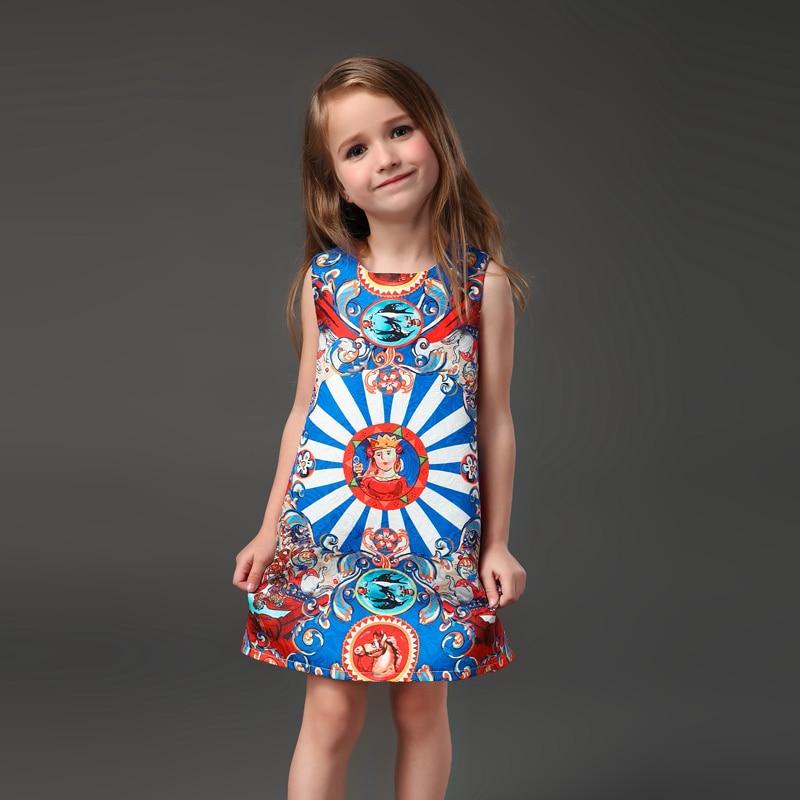 Primavera Verano familia a juego ropa italiana moda cabeza estampado mujeres niñas sin mangas A-line vestido madre hija vestidos