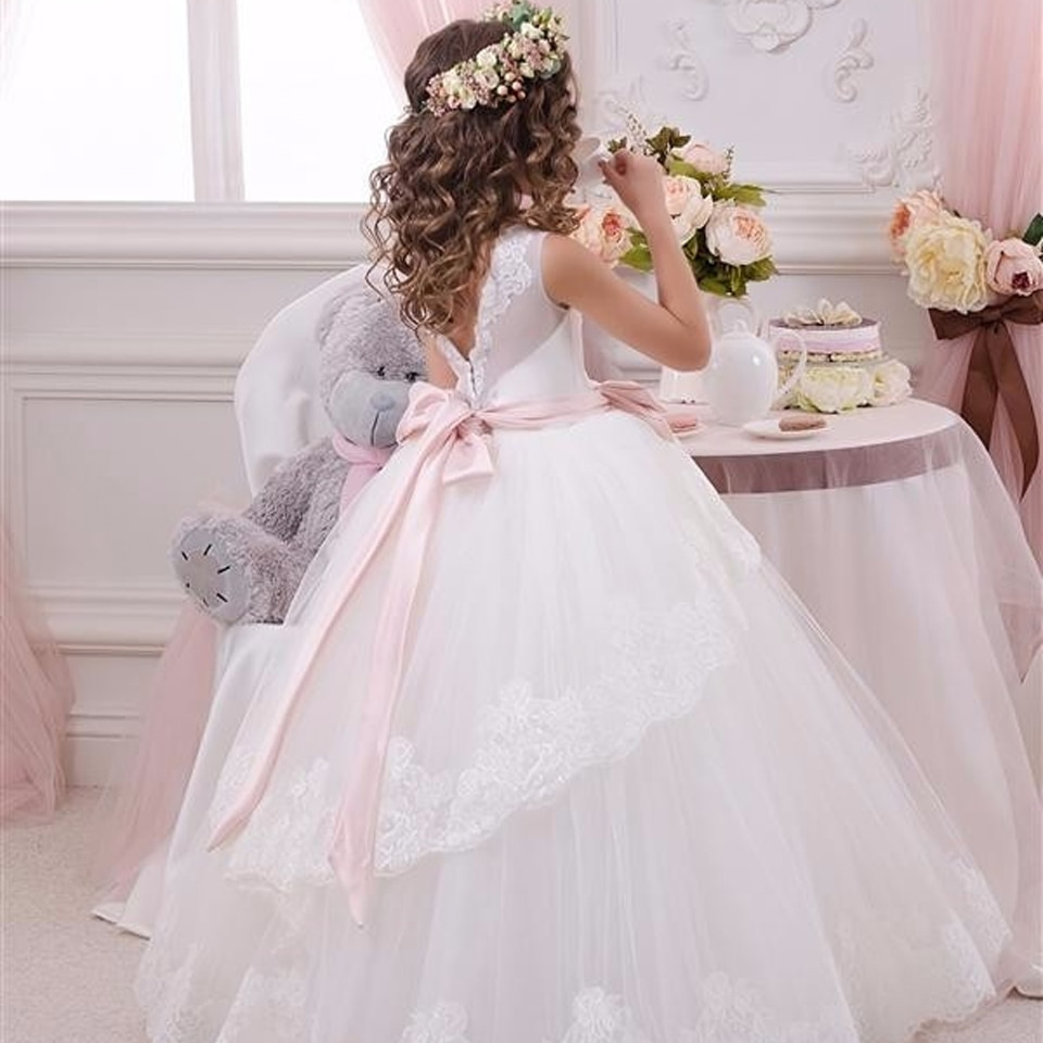 New vestidos primera sleeveless Lace Up  First Communion Dresses  Bow Mesh Fashionable Open V-back Ball Gowns Little Girls 2016 enlarge