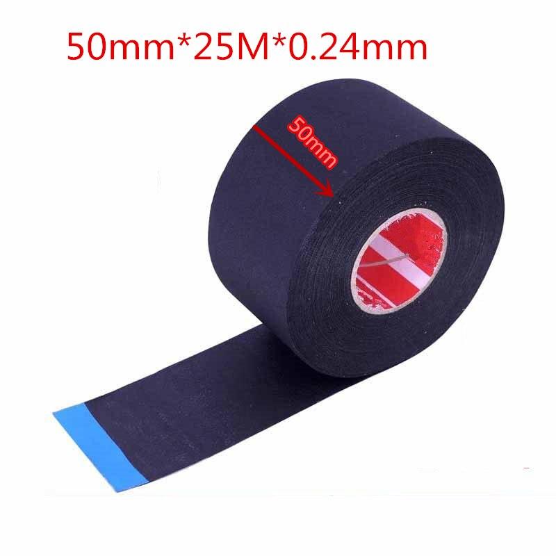 Tela no tejida de poliester de 50mm x 25m arnés de cableado eléctrico automotriz tela de ácido acético cinta electrónica cinta brillante de poliéster
