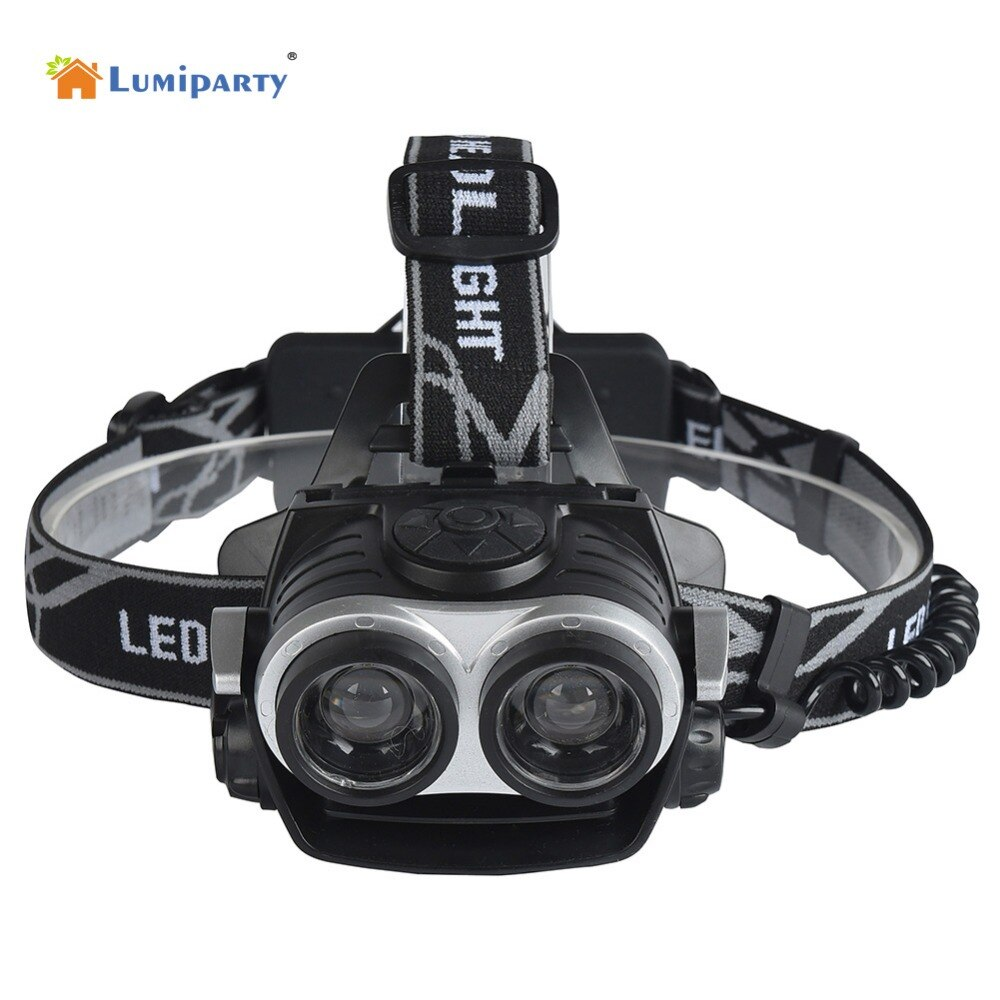 Lumiparty 8000lm 18650 farol 2x t6 led head lamp farol tocha lanterna led pesca para 18650 bateria