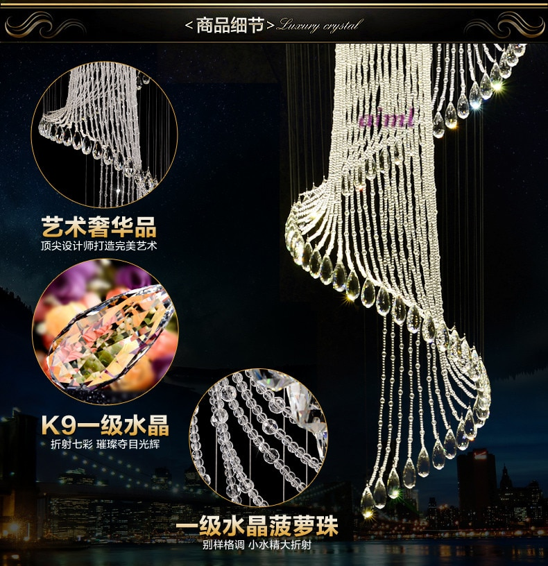 Size: 60*60* 260CM 32W Leds K9 Crystal Droplight Spiral Staircase Stairs Long Lamp Droplight Of Contempor  - buy with discount