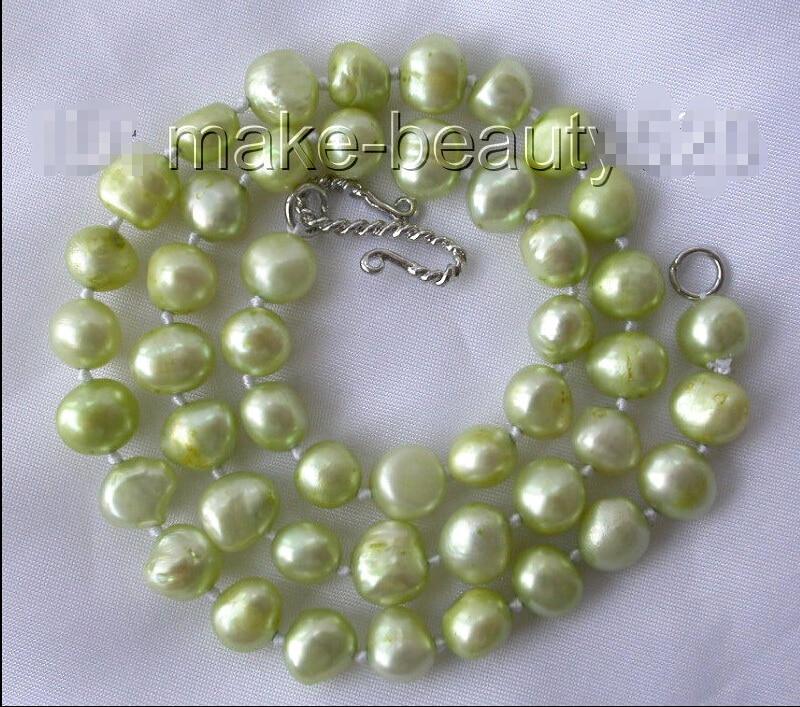 ENVÍO LIBRE >>>@@> clásico 9mm collar de perlas cultivadas de agua dulce barroca verde s213 ^^^@^ Noble estilo Natural Fina jewe rápido SH
