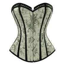 Charmian 여성 플러스 사이즈 steampunk overbust 코르셋 섹시한 꽃 레트로 새틴 코르셋과 bustiers 허리 트레이너 셰이퍼