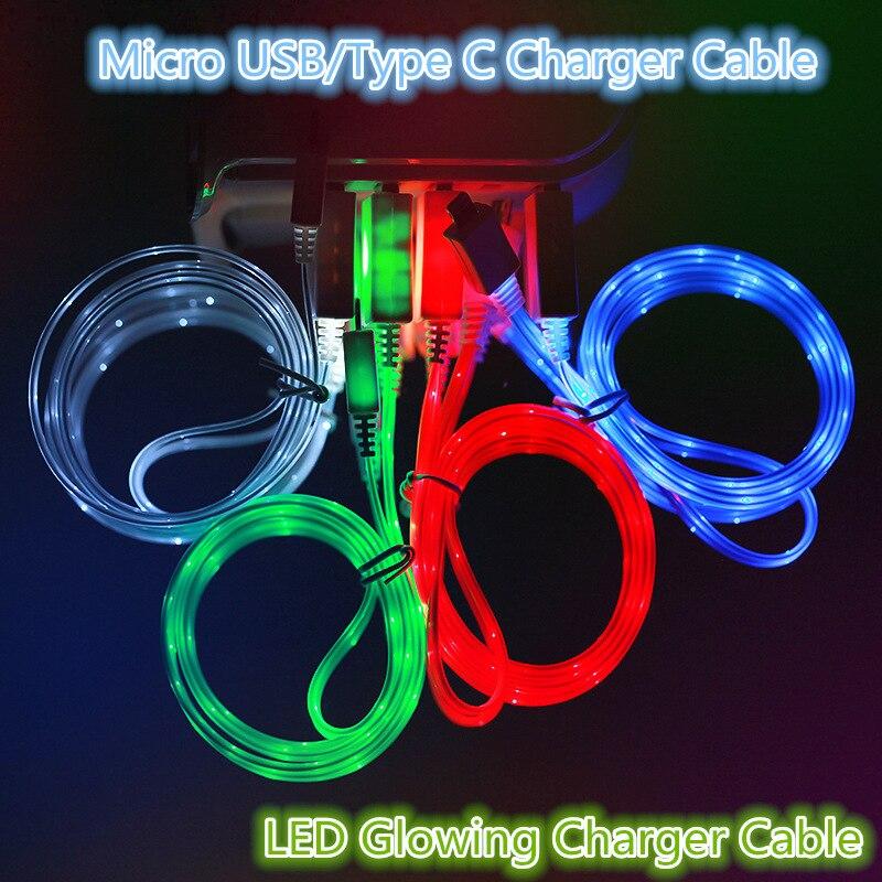 Led luminoso micro usb tipo c cabo de carregamento para huawei p30 pro honra 10i 9 lite xiaomi redmi nota 6 pro telefone carregador cabo
