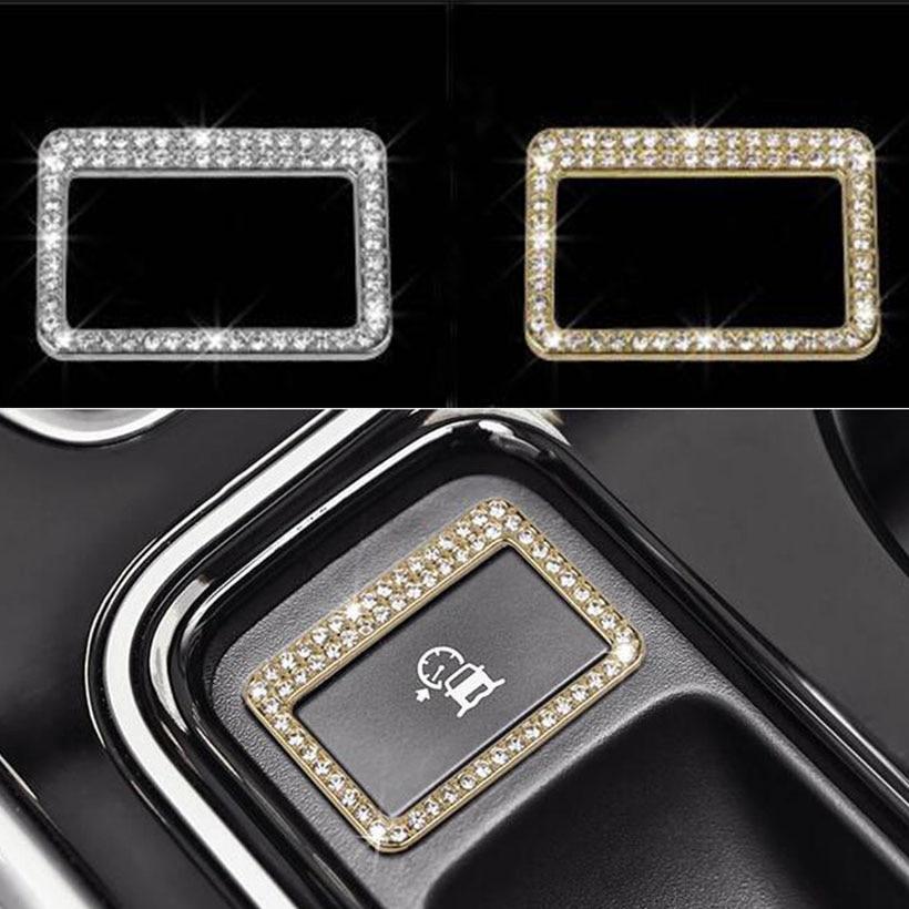 Plata/oro condiciones de la carretera botón Marco ajuste etiqueta engomada del coche para Jaguar XE XF F-Pace 2016 2017 accesorios de coche