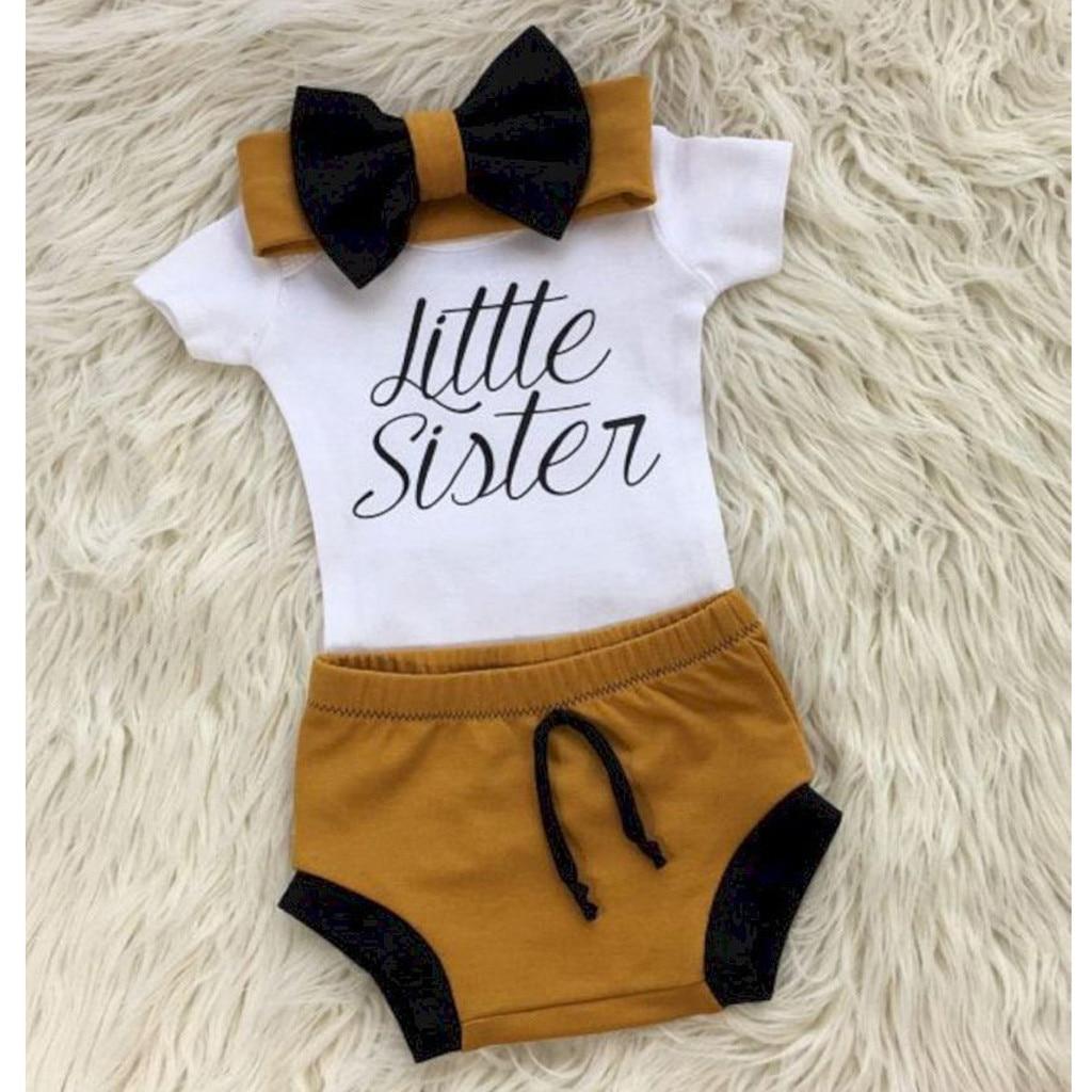 Recién Nacido bebé niña mameluco mono recién nacido bebé niña carta camiseta Tops Shorts diadema 3 piezas ropa conjunto
