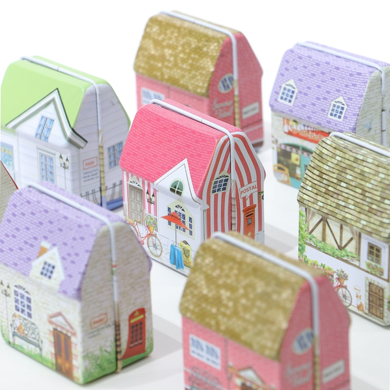 2019 NEW Mini Vintage House Tinplate Shape Storage Tin Box Coin Bag Jewelry Box Lovely Print Storage Box Girls 6design mix pack