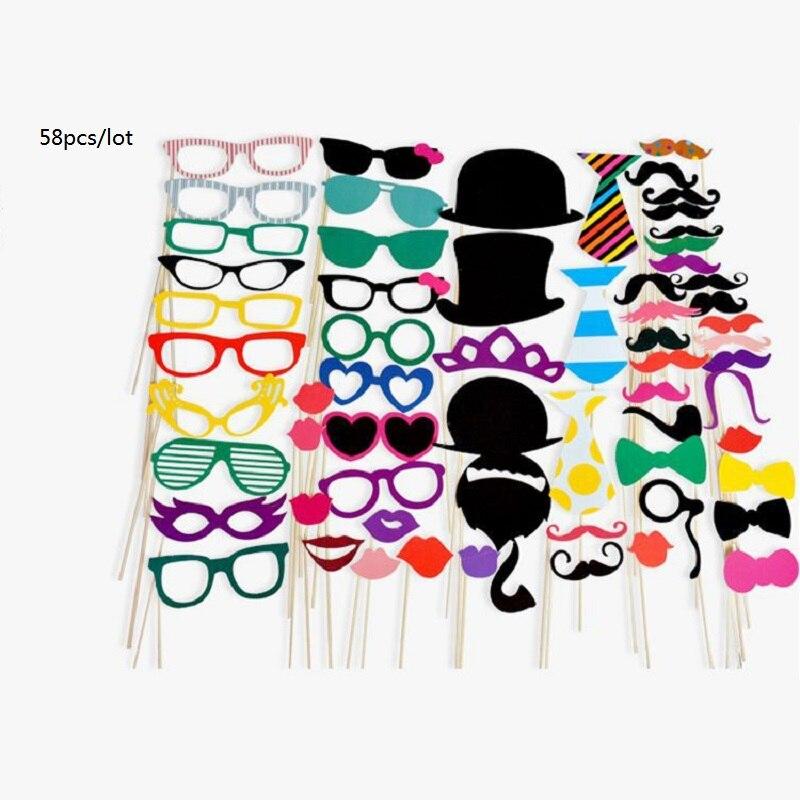 58 piezas decoración de fiesta de boda accesorios de fotografía gafas divertidas para boda Día de la madre cumpleaños foto Accesorios
