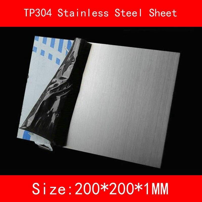 1*200*200mm Chapa de Aço inoxidável AISI TP304 Chapa de Aço Inoxidável Escovado Drawbench Placa laboratório DIY metal ISO