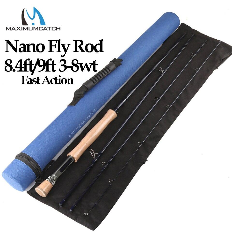 Maximumcatch Nano 3/4/5/6/7/8wt 4pcs Fast Action Fly rod 8.4ft/9ft  IM12 Carbon Fiber Fly fishing Rod with Cordura tube