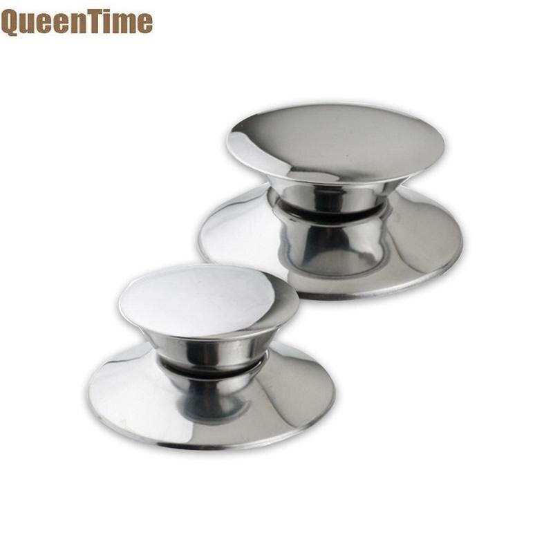 QueenTime 2 unids/set pomos de tapa de olla de repuesto tapa para ollas de acero inoxidable mango Durable Silver Wok tapas Grip Cookware Accesorios