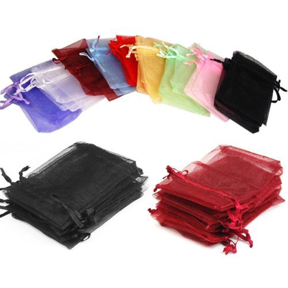 100 pces 7x9cm premium organza sacos de favor do casamento presente mini sacos de jóias saco de fio puro 19 cores podem escolher