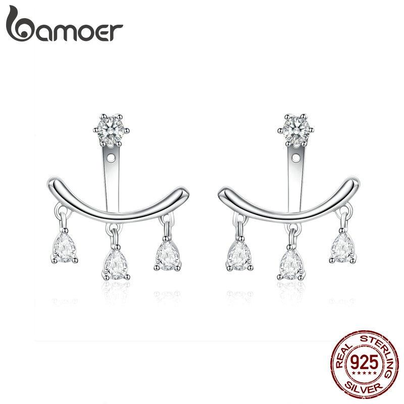 BAMOER Earings 2019 925 Sterling Silver Clear Cubic Zirconia Ear Jacket for Women Wedding Statement Crystal Jewelry BSE086