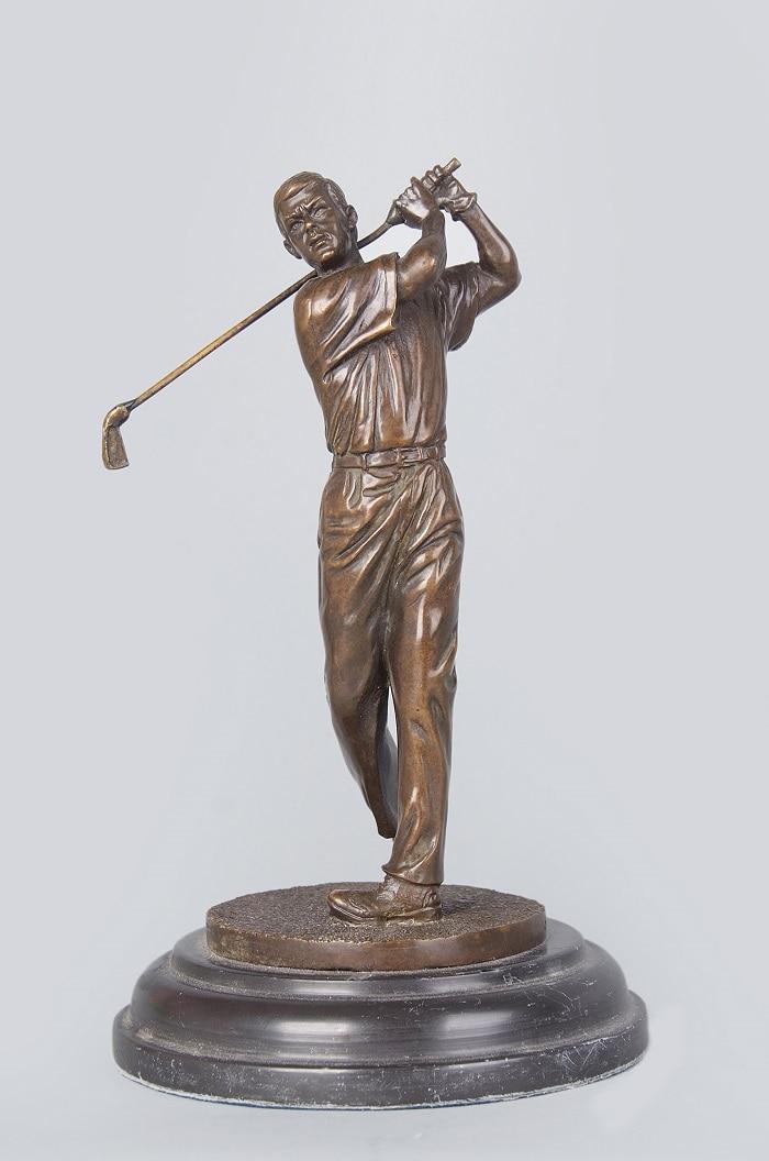 Manualidades, cobre, artesanía clásica, golfista, escultura de hombre, bronce, deportes, golf, carrera, estatua vintage, CZS-416 de recuerdo