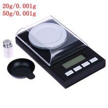 Balanza Digital portátil Mini 20g/0.001g 50g/0.001g balanza electrónica LCD Balanza de capacidad diamante joyería alta Balanza de bolsillo de precisión