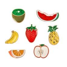 Cadeau de bijoux de fruits en Denim, pastèque de pomme de Pin Orange, Kiwi, broches à boutons