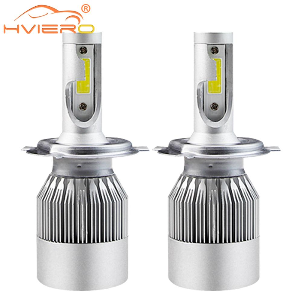 2X Cob автомобильный светильник, противотуманный светильник C6 H1 H3 H4 H7 H11 HB3/9005 HB4/9006, Автомобильные светодиодные лампы 72 Вт 7600lm