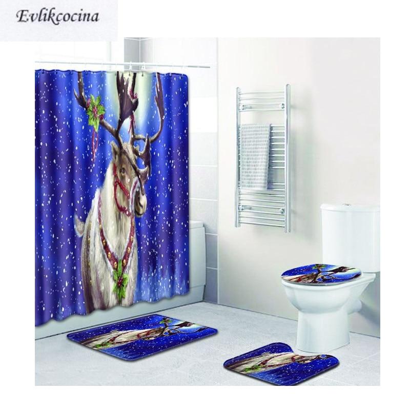 Envío gratis 4 Uds Navidad alces Banyo Paspas baño Alfombra alfombrilla para el inodoro del baño conjunto antideslizante Tapis Salle De Bain Alfombra Baño