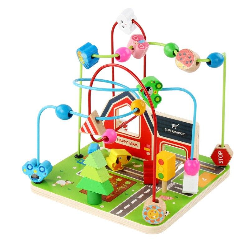 Новые детские игрушки Монтессори Развивающие деревянные игрушки ферма вокруг бисера математический подсчет Abacus Детские Ранние развивающи...