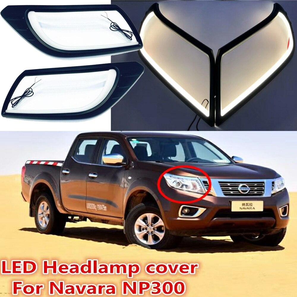 1 juego de luces de circulación diurna LED para Nissan Navara NP300 accesorios de coche 2014 ~ 2016 año Navara faro antiniebla delantero drl Luz de parachoques