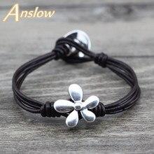 Anslow marque Top qualité 2017 Bijoux de charme unisexe fleurs Bracelet en cuir pour femmes hommes mère fête des pères cadeau LOW0613LB