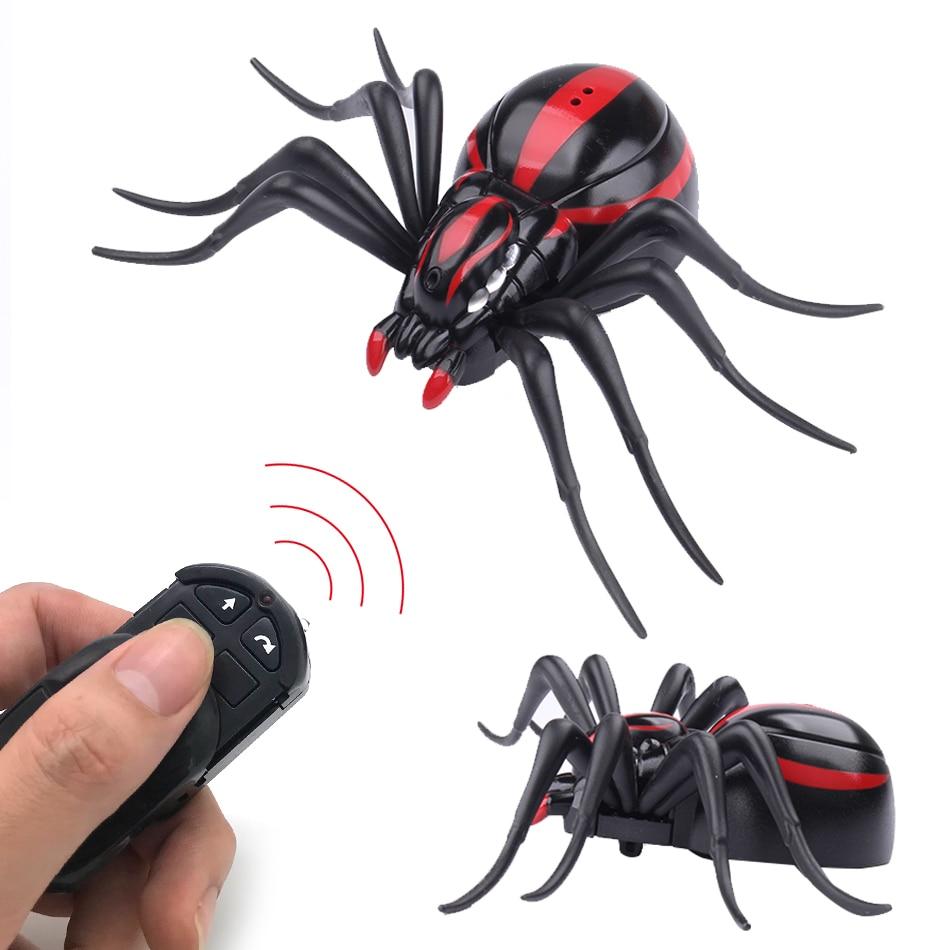 Simulación de Halloween Control remoto araña realista RC animales Araneid brillo ojos delicado juguete de miedo divertido regalo de broma para niños