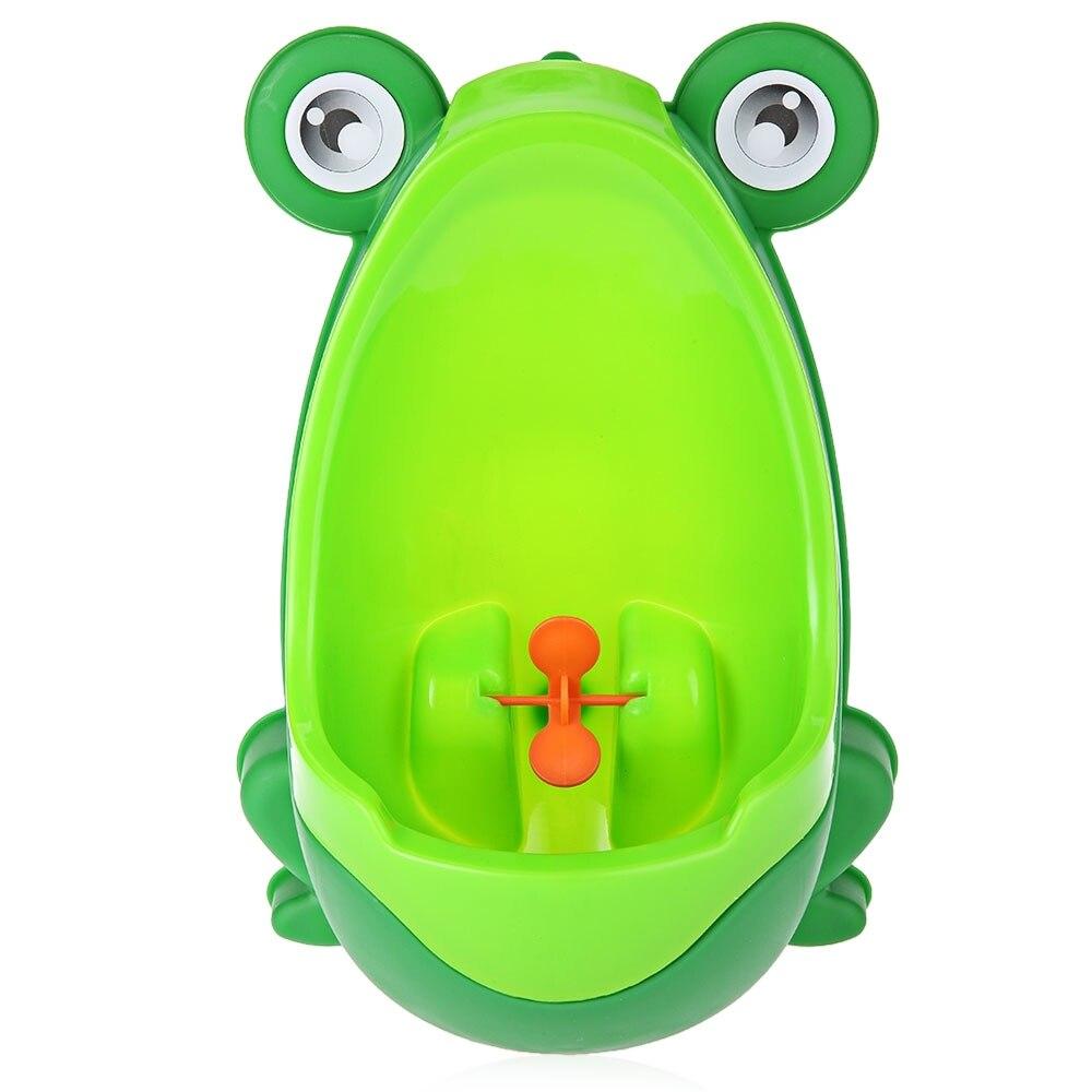 Animal lindo niño portátil orinal de pie inodoro Penico forma de rana Vertical montado en la pared Pee Boy baño urinario armario