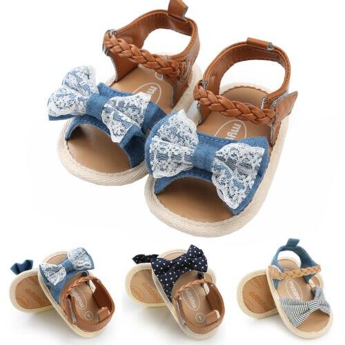 Sandals for Girls Baby Shoes Newborn Summer Cotton Cloth Lattice Cute Comfortable Baby Girl Sandals Fashion Plaid Princess Shoe