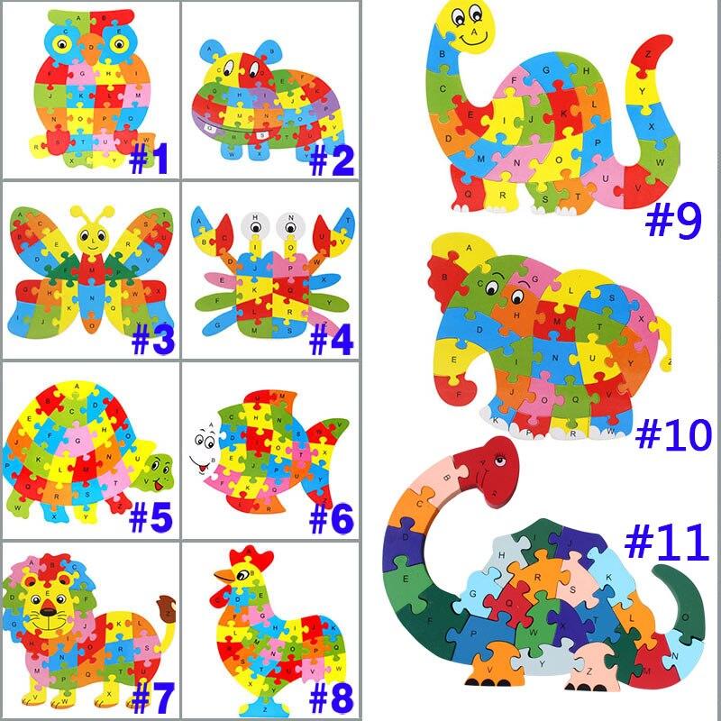 26 узоров деревянные животные Алфавит головоломка для раннего обучения головоломки для детей детские развивающие Обучающие интеллектуальные игрушки M09