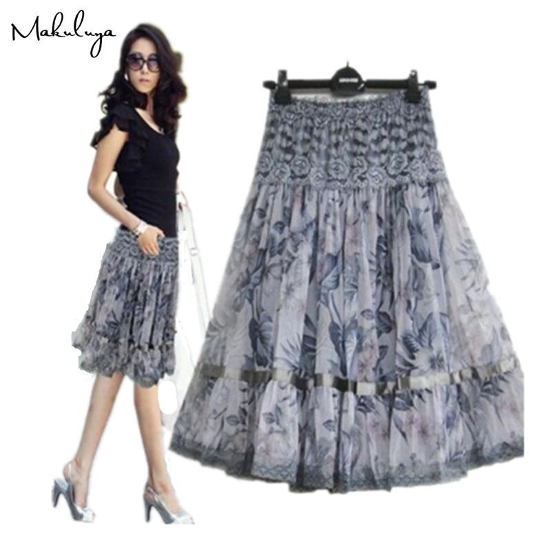 Makuluya2020 mejores faldas de encaje moda elegante falda de mujer talla grande estampado encaje bohemia falda media hermosa Señora falda L6