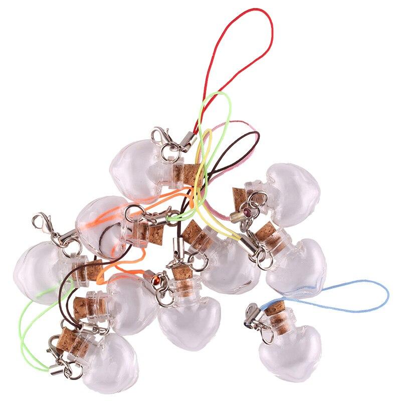 50 Uds. Corazón de melocotón transparente jarras y botellas de vidrio ampollas deseo botella lindas botellas de artísticas con tapa para corchos llavero regalo