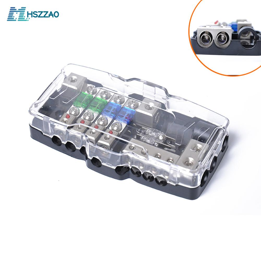Caja de fusibles multifuncional LED Audio estéreo para coche Mini ANL con bloque de fusibles de 4 vías 30A 60A 80Amp y distribución de batería 0/4ga