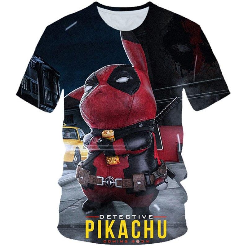 2020 verano niños 3D camiseta chicos chica Pokemon Detective Pikachu Anime estampado de Deadpool camiseta niños moda camisetas 4-20 años