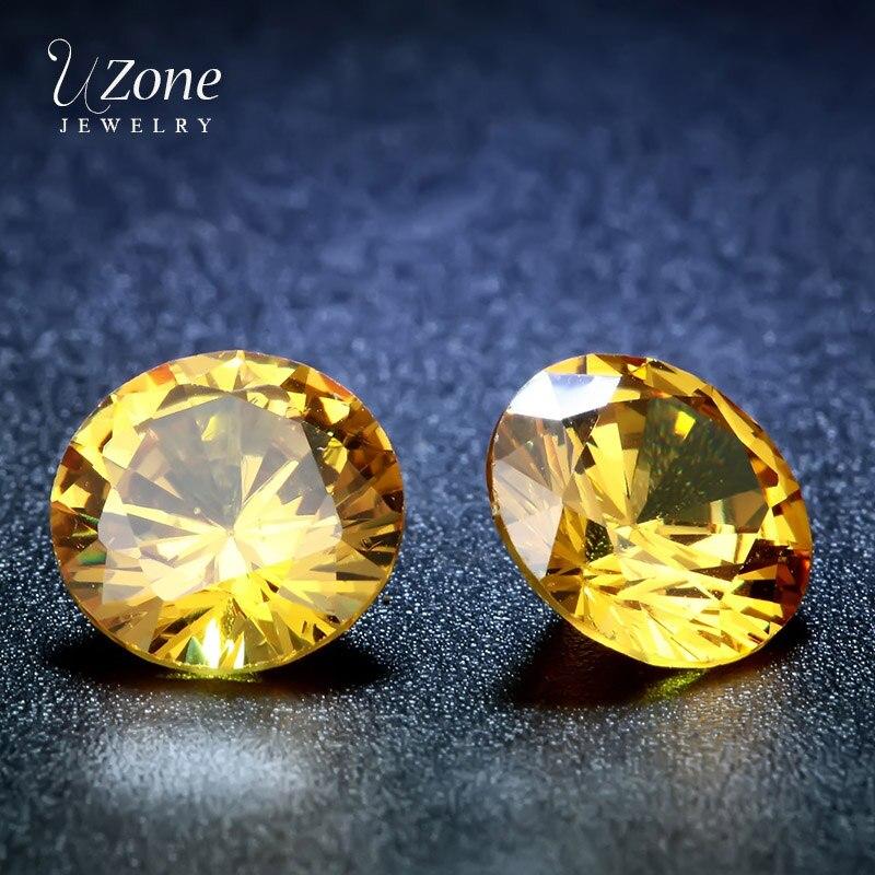 Qualidade superior aaaaa 8mm limão amarelo zircônia cúbica cz pedras contas de cristal corte forma redonda facetada jewerly acessórios