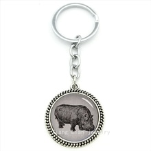 Trendy round men body jewelry hippo keychain vintage hippopotamus animals pendant key ring jewelry father,husband gift  T645