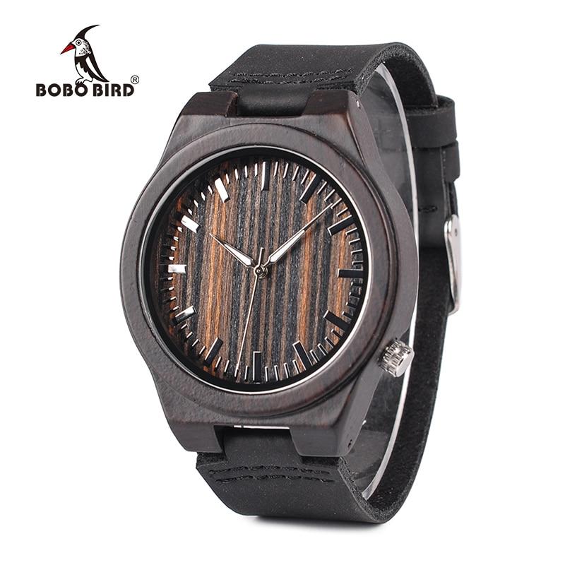 BOBO de AVES CbB13 Madera Antiguo Erkek Relojes con Banda de Cuero Reloj de Cuarzo de Pulsera de Moda para Los Hombres en Caja de Regalo de Papel