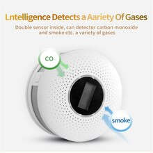 Détecteur de fumée gaz numérique 2 en 1   Détecteur de monoxyde de carbone Co, capteur davertissement vocal, Protection de sécurité à domicile haute sensibilité