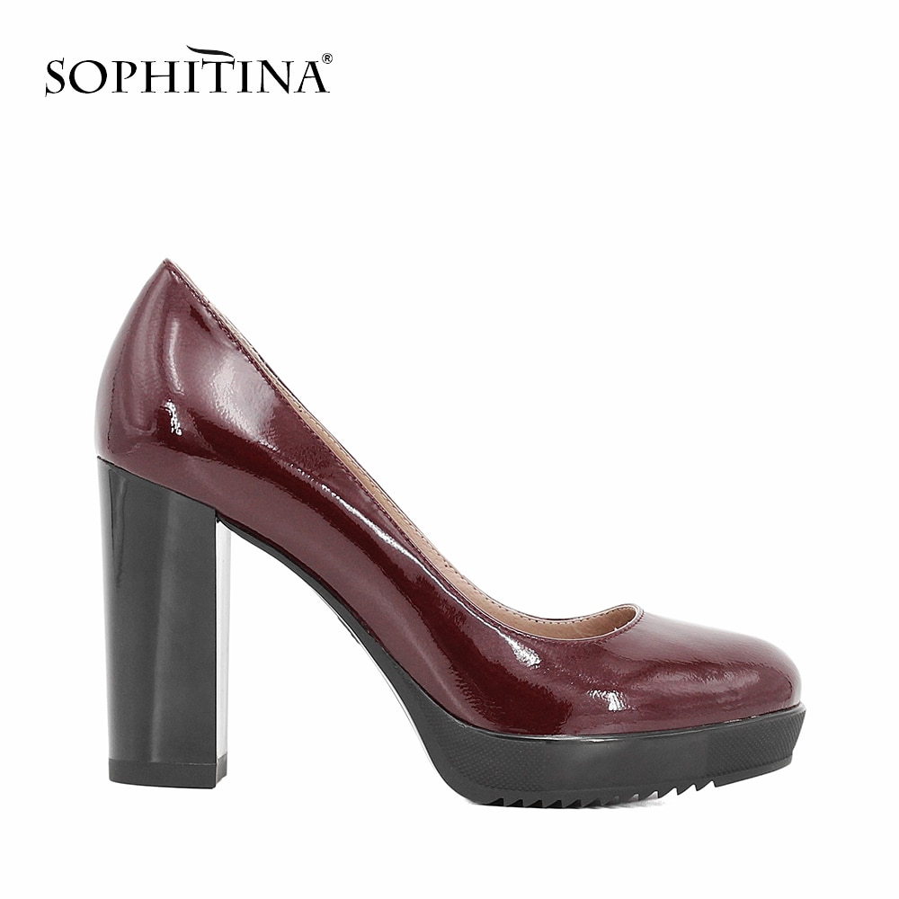 aikelinyu classics pump square heel women s pumps genuine leather purple sexy office lady shoes hollowing out women wedding shoe SOPHITINA Brand Lady Pumps Genuine Leather Handmade High Square Heels Platform Pumps Wedding Party Sexy Office Classic Shoes D04