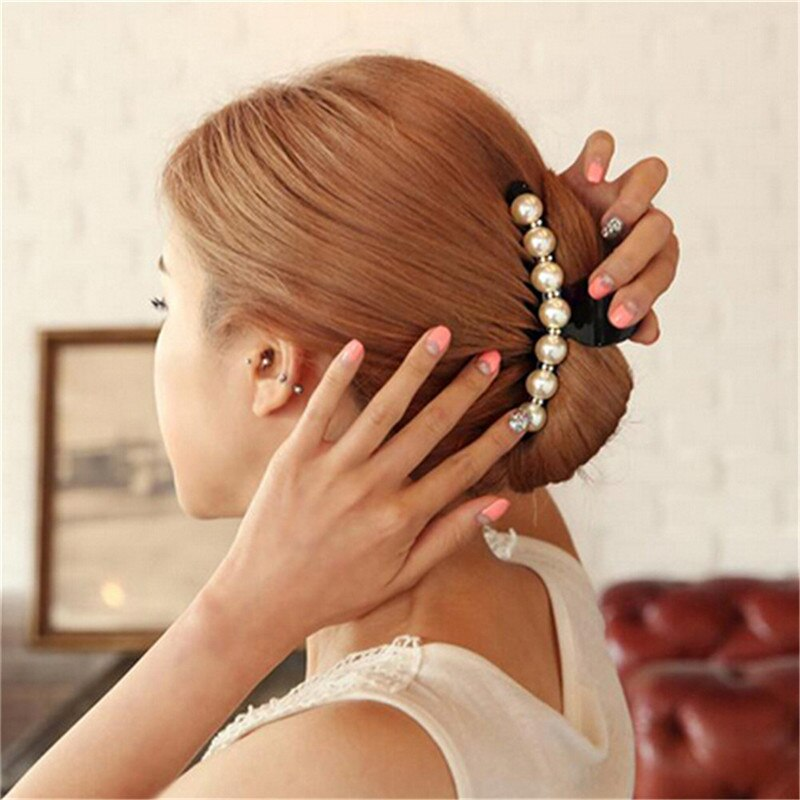 Headwear Weiß Perlen Haarnadeln Strass Haar Clip Shiny Krabben Haar Krallen Ornamente Frauen Kinder Mädchen Haar Zubehör