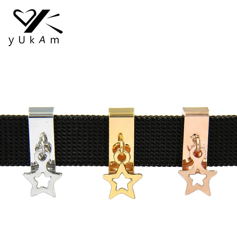 Joyería YUKAM las llaves en la estrella de la noche colgante diapositiva encantos pendientes de cuero de malla de guardián pulseras accesorios de
