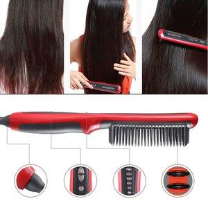 Выпрямитель для волос, прочная электрическая расческа для волос, щетка с ЖК-дисплеем, керамическая щетка для выпрямления волос с подогревом...