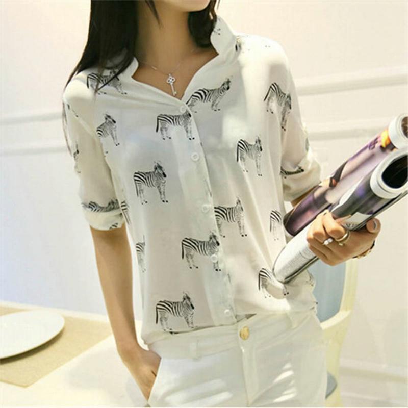 Mulheres carta impressão zebra blusa chiffon camisa blusas moda meninas manga curta botão para baixo topos
