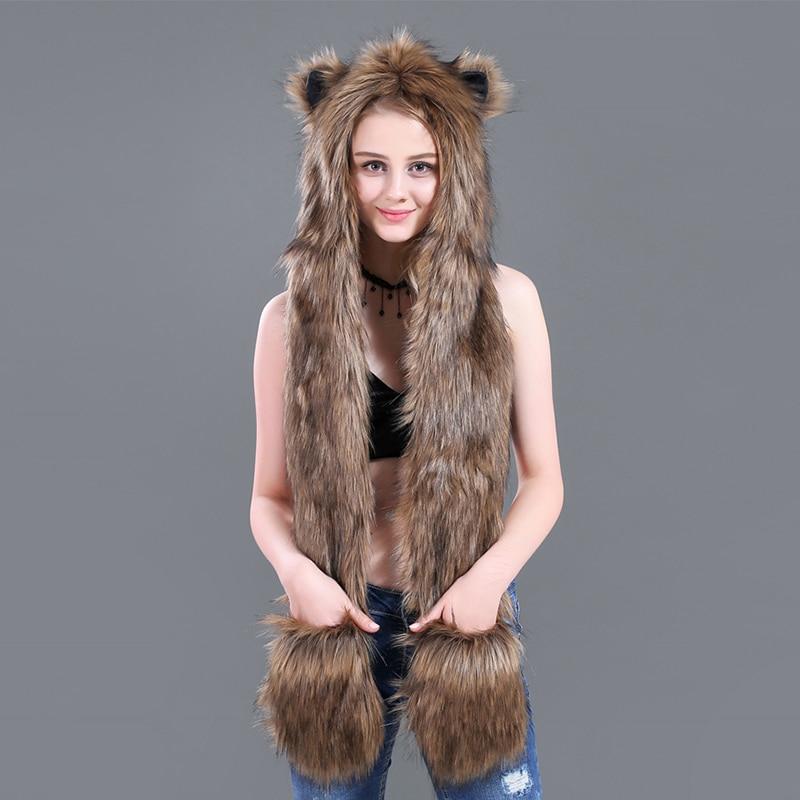 Brown 3 in 1 Cartoon Full Animal Faux Fur Hood Winter Warm Women Siamese Hoodie Gloves Pocket Earflap Hat Long Scarf Shawl Wraps