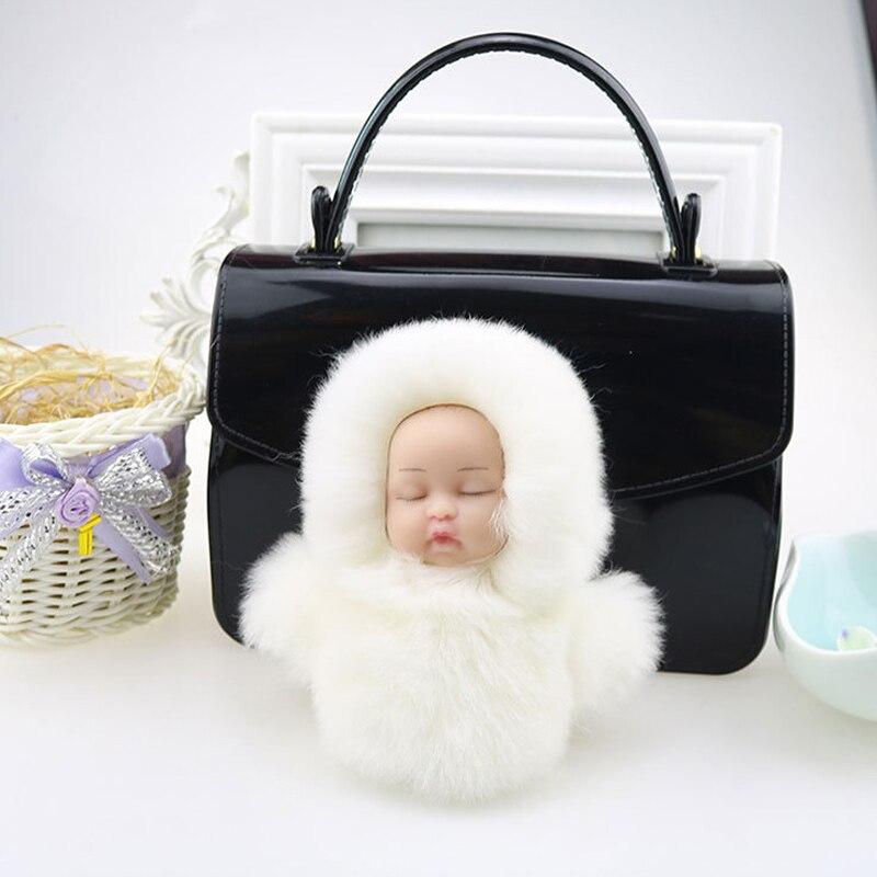 Original New Fluffy Rabbit Fur Sleeping Baby Doll Key Chain Women Trinket Bunny Fur Keychain For Bag Car Jewelry New Year Gift