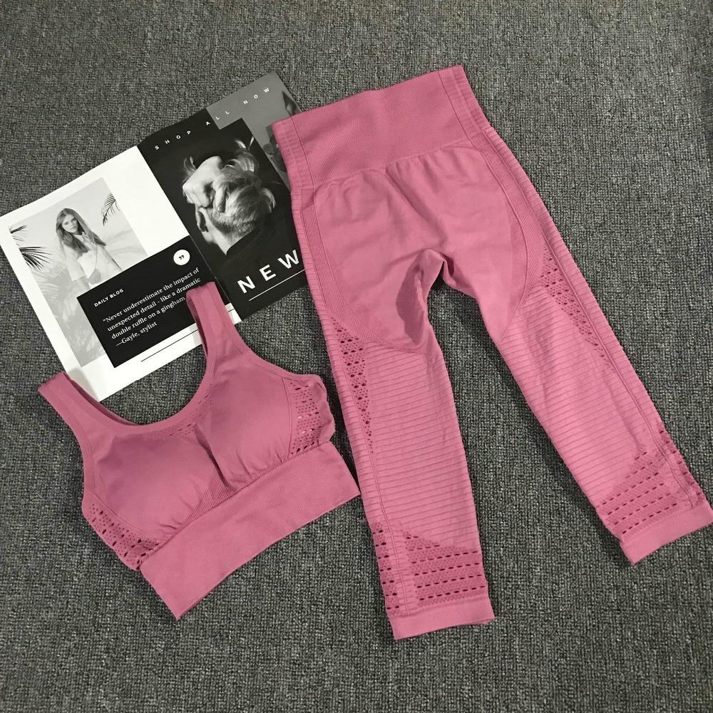 2PCS Yoga Set Strappy Bra+High Waist Energy Seamless Capris Women Gym Workout Clothing Tracksuit Yoga Leggings Pants Sports Suit