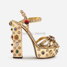 Shooegle Designer Luxury Shoes Female Gold Mirrored Leather Sandaly Rivets Jeweled Wedding High Heels Platform Gemstone Sandals